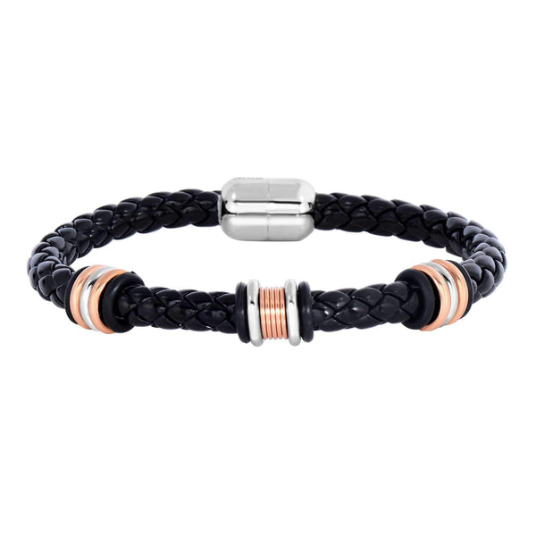 Giorgio Bergamo Bracelet 316L Stainless Steel Genuine Leather Two-Tone Station Bracelet SS951