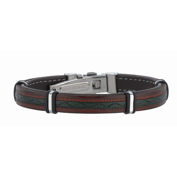 Giorgio Bergamo Bracelet 316L Stainless Steel Genuine Multi-Color Leather Station Bracelet SS687