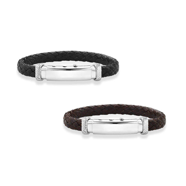 Giorgio Bergamo Bracelet 925 Sterling Silver Genuine Leather Polished ID Bracelet