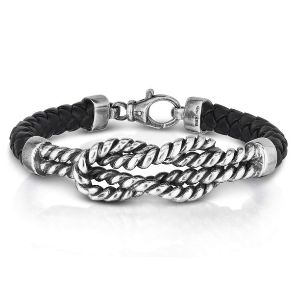 Giorgio Bergamo Bracelet 925 Sterling Silver Genuine Leather Sailors Knot Bracelet PGRC2404