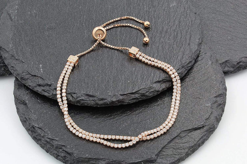 Giorgio Bergamo Bracelet 925 Sterling Silver Rose Gold Double Row Adjustabe Pull Bracelet MJB7778