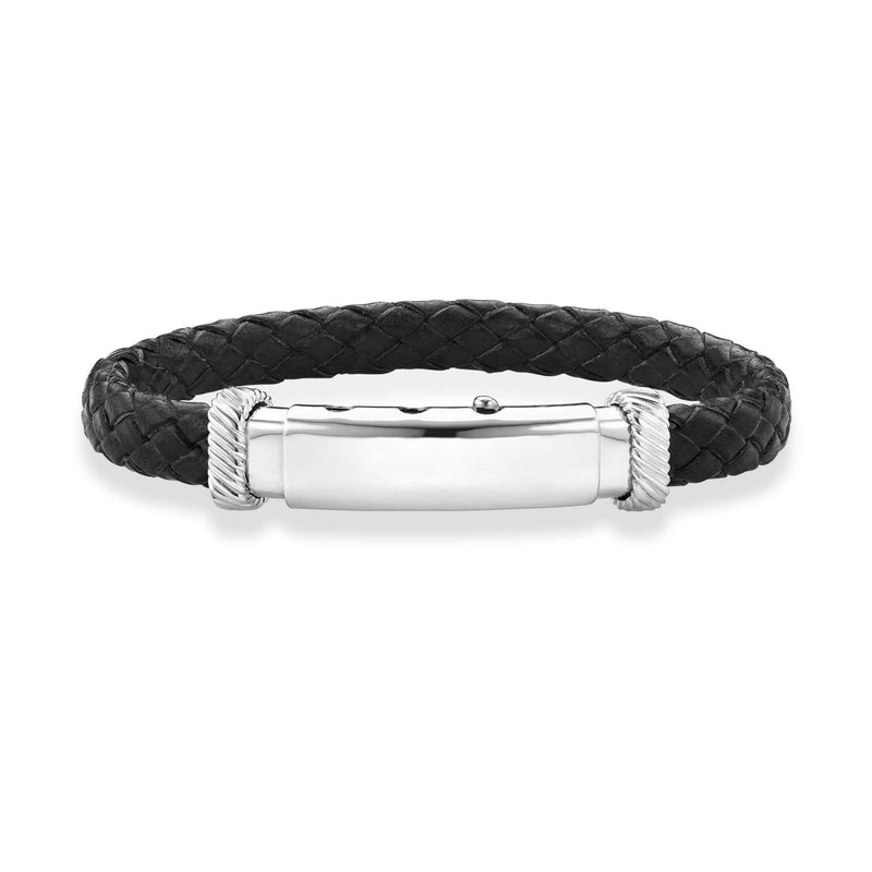 Giorgio Bergamo Bracelet Black 925 Sterling Silver Genuine Leather Polished ID Bracelet PGRC3528