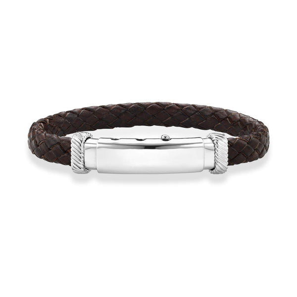Giorgio Bergamo Bracelet Brown 925 Sterling Silver Genuine Leather Polished ID Bracelet PGRC3530