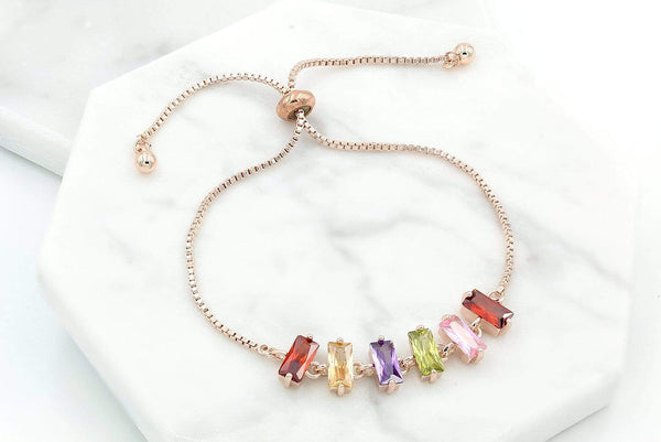 Giorgio Bergamo Bracelet Rose Gold Plated Multi-Color Emerald Cut Adjustabe Bracelet MJB1025