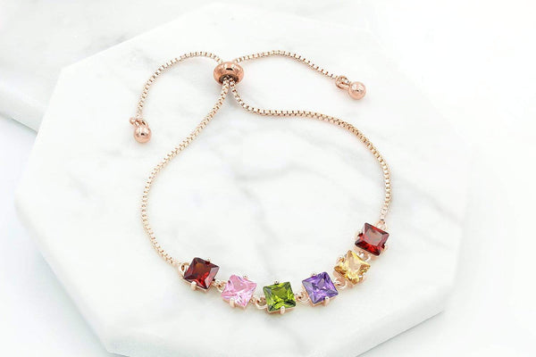 Giorgio Bergamo Bracelet Rose Gold Plated Multi-Color Princess Cut Adjustabe Bracelet MJB1024