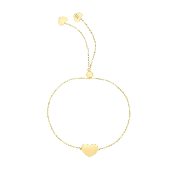 Giorgio Bergamo Bracelet Yellow 14kt Gold Polished Heart Adjustable Pull Bolo Bracelet MJRC9887