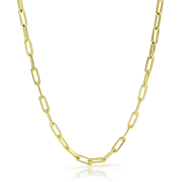 Giorgio Bergamo Chain 925 Sterling Silver 3.5mm Paper Clip Yellow Gold Plated Chain
