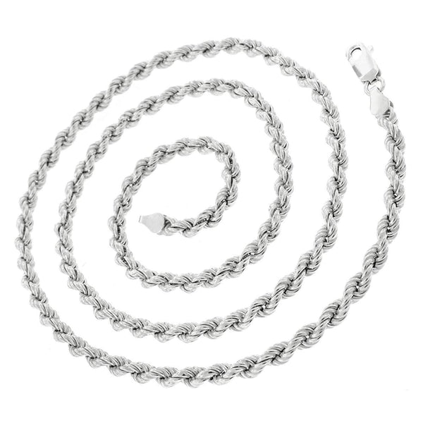 Giorgio Bergamo Chain Sterling Silver 3.5mm Hollow Rope Rhodium Chain