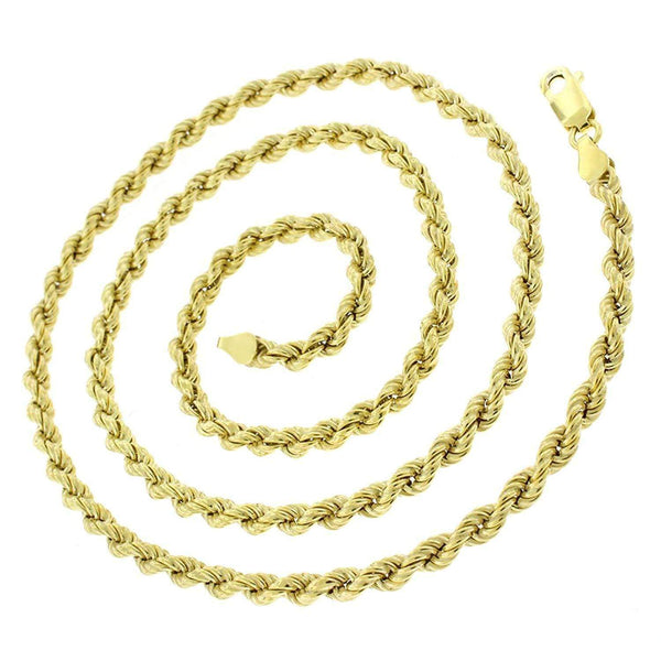 Giorgio Bergamo Chain Sterling Silver 3.5mm Hollow Rope Yellow Gold Chain