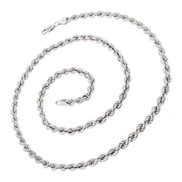 Giorgio Bergamo Chain Sterling Silver 4.5mm Hollow Rope Rhodium Chain