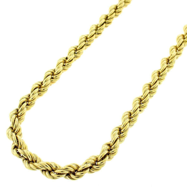 Giorgio Bergamo Chain Sterling Silver 5mm Hollow Rope Yellow Gold Chain