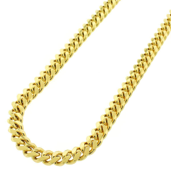 Giorgio Bergamo Chain Sterling Silver 6.5mm Miami Cuban Link Yellow Gold Chain