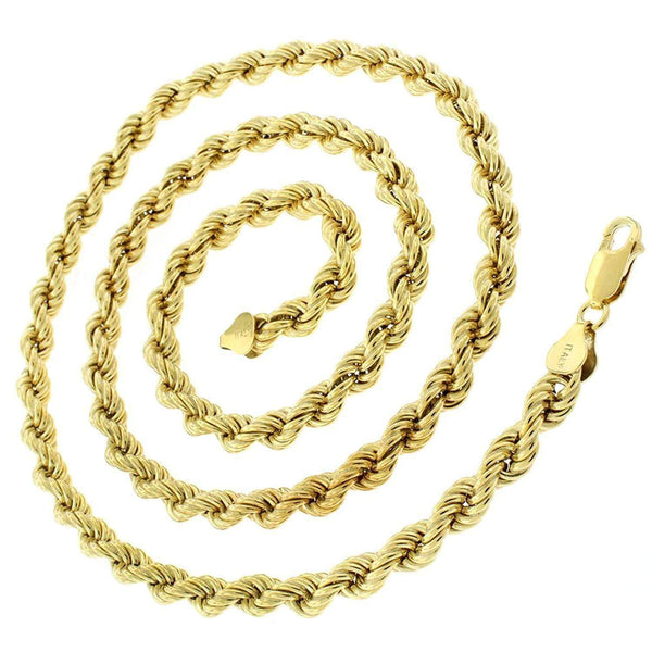 Giorgio Bergamo Chain Sterling Silver 6mm Hollow Rope Yellow Gold Chain