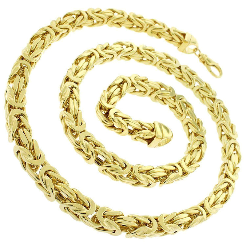 Giorgio Bergamo Chain Sterling Silver 7.5mm Hollow Byzantine Yellow Gold Chain