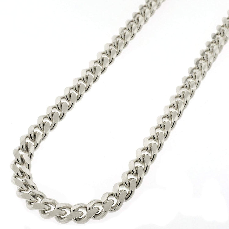 Giorgio Bergamo Chain Sterling Silver 7.5mm Miami Cuban Link Rhodium Chain