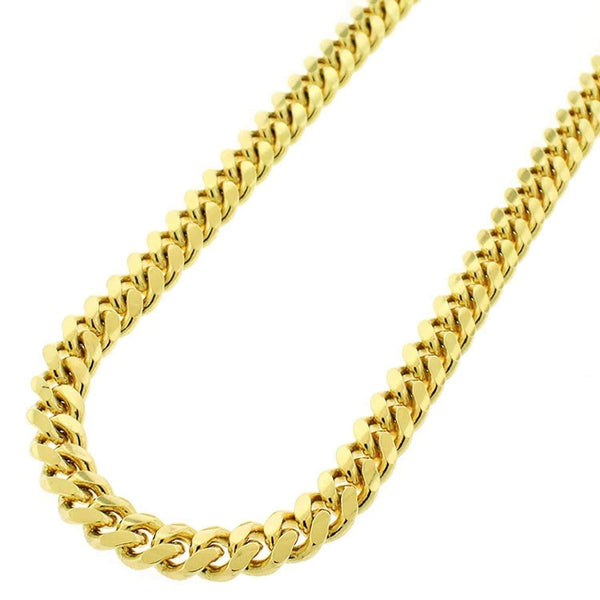 Giorgio Bergamo Chain Sterling Silver 7mm Miami Cuban Link Yellow Gold Chain
