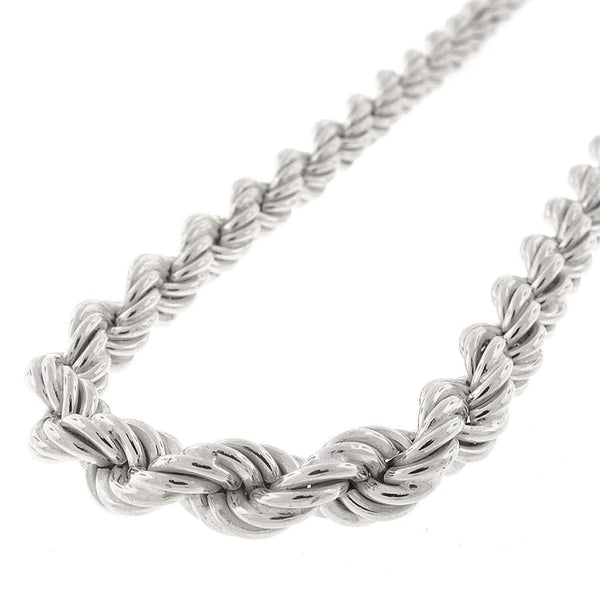 Giorgio Bergamo Chain Sterling Silver 8mm Hollow Rope Rhodium Chain