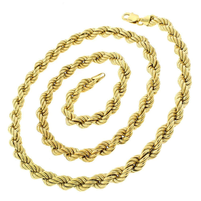 Giorgio Bergamo Chain Sterling Silver 8mm Hollow Rope Yellow Gold Chain
