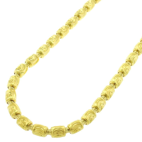Giorgio Bergamo Chain Sterling Silver Italian 4mm Barrel Moon-Cut Yellow Gold Chain