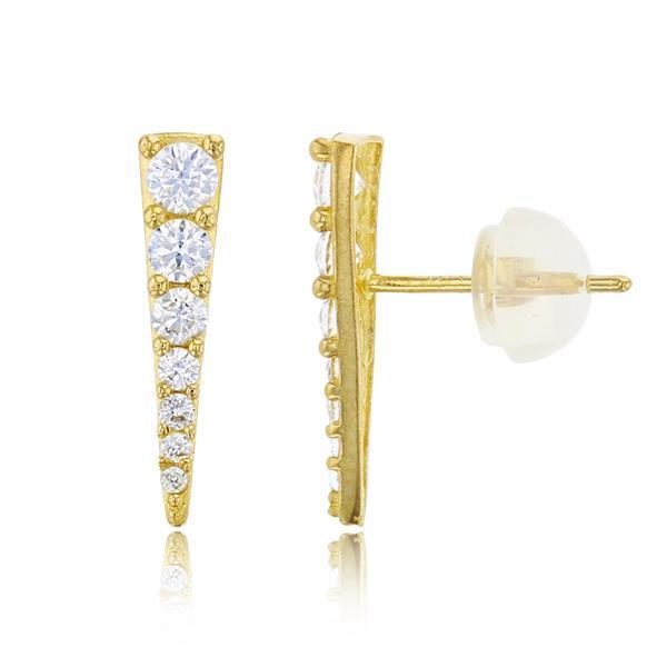 Giorgio Bergamo Earrings 10kt Gold Chevron Graduated Crystal Stud Earrings MJTZE8461Y2W
