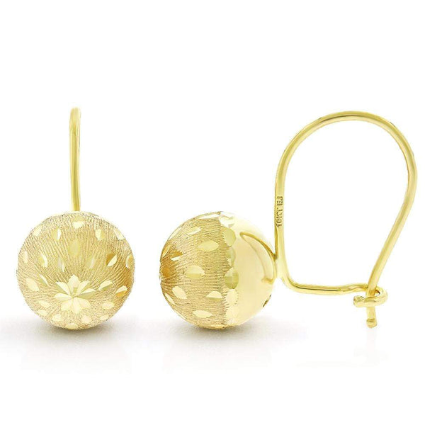 Giorgio Bergamo Earrings 10kt Gold Diamond Cut Matte Finish Ball Earring MJZH104