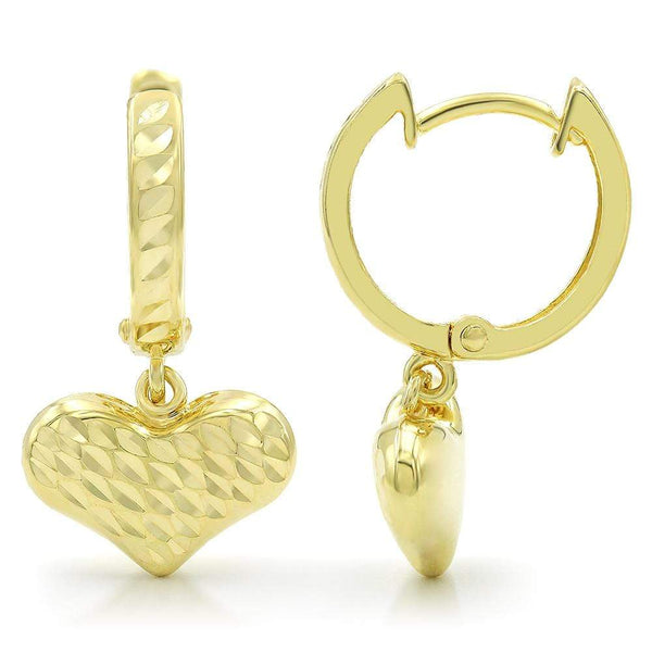 Giorgio Bergamo Earrings 10kt Gold Puffed Heart Diamond Cut Drop Earring MJZH102