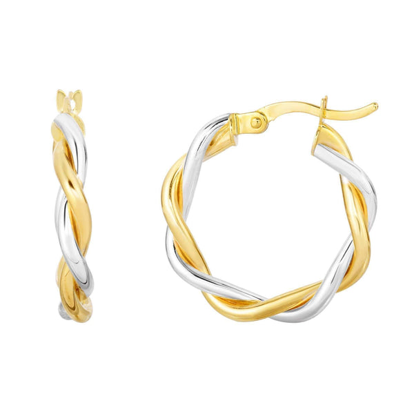 Giorgio Bergamo Earrings 10kt Gold Twisted Double Wire Round Hoop Earring MJZYWER4289