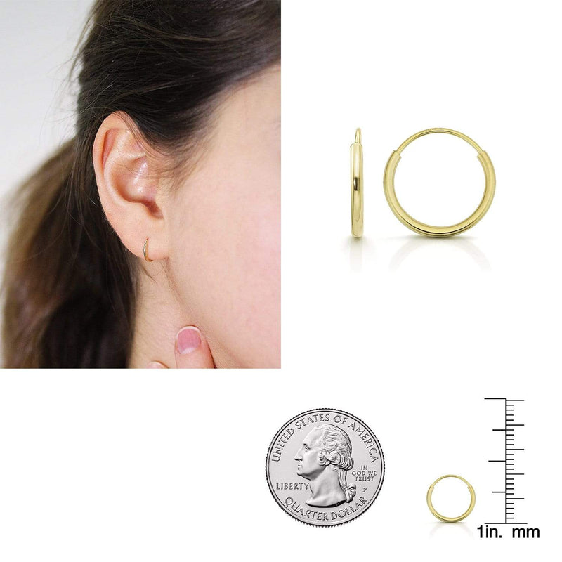 Giorgio Bergamo Earrings 10mm 14K Gold Endless Hoop Earrings, Size 10mm - 20mm and 3-Piece Sets 14kendlesshoop10mm