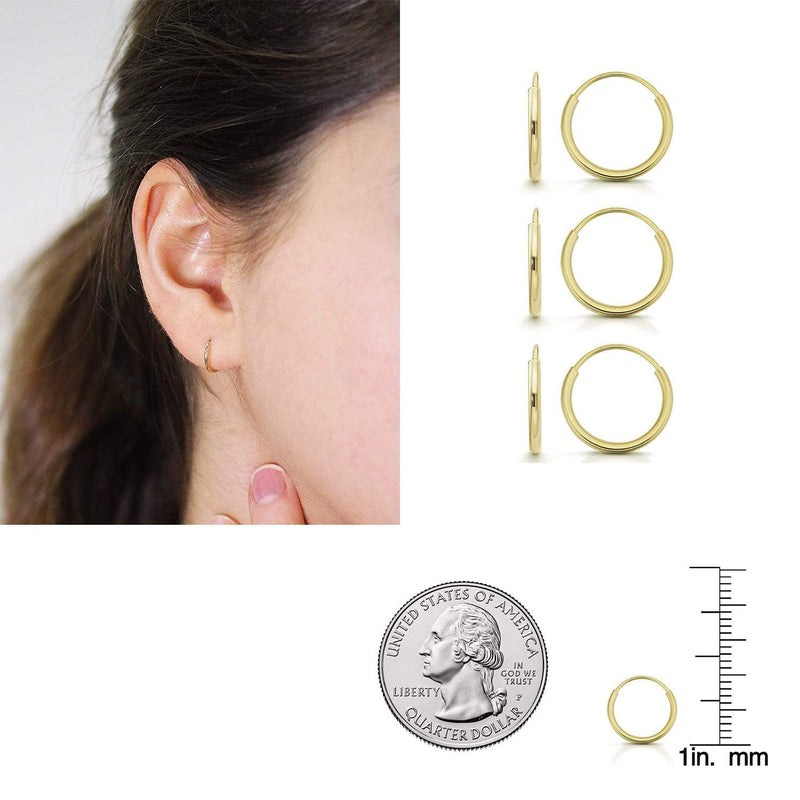 Giorgio Bergamo Earrings 10mm 3-Pair Set 14K Gold Endless Hoop Earrings, Size 10mm - 20mm and 3-Piece Sets 14kendlesshoop10mmSet