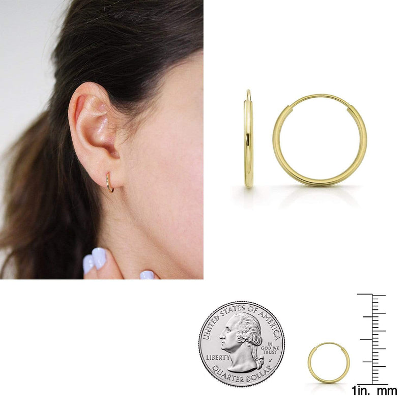 Giorgio Bergamo Earrings 12mm 14K Gold Endless Hoop Earrings, Size 10mm - 20mm and 3-Piece Sets 14kendlesshoop12mm