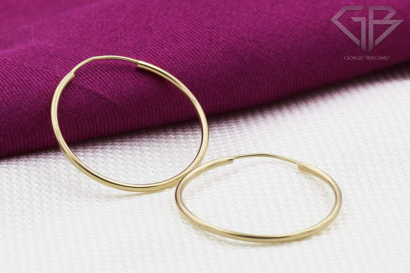 Giorgio Bergamo Earrings 14K Gold Endless Hoop Earrings, Size 10mm - 20mm and 3-Piece Sets