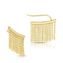 Giorgio Bergamo Earrings 14kt Gold Bar With Tassel Drop Ear Climber Earring MJER11203