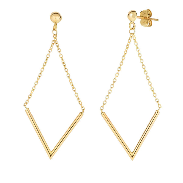 Giorgio Bergamo Earrings 14kt Gold Chevron V Drop Earring MJER4194