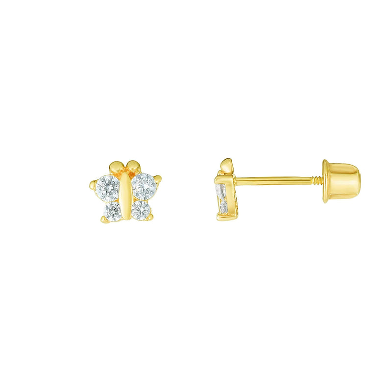 Giorgio Bergamo Earrings 14kt Gold Crystal Butterfly Childrens Stud Earring MJER10694