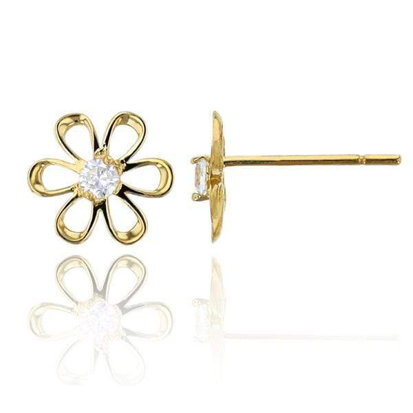 Giorgio Bergamo Earrings 14kt Gold Crystal Daisy Stud Earring MJFZE5184Y2W