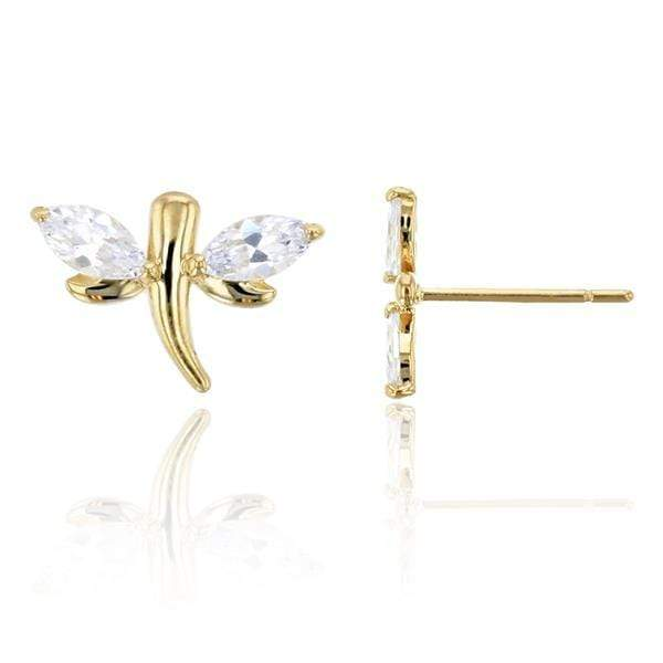Giorgio Bergamo Earrings 14kt Gold Crystal Dragonfly Childrens Stud Earring MJFZE4858Y2W