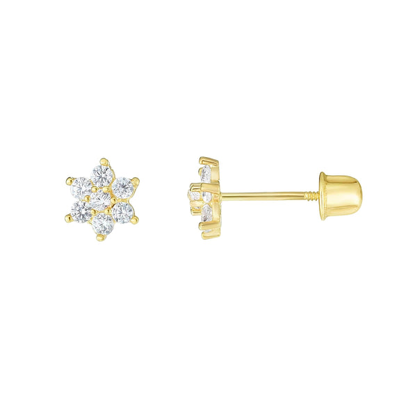Giorgio Bergamo Earrings 14kt Gold Crystal Flower Childrens Stud Earring MJER10692