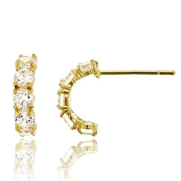 Giorgio Bergamo Earrings 14kt Gold Crystal Half Hoop Stud Earring MJFZE5135Y2W