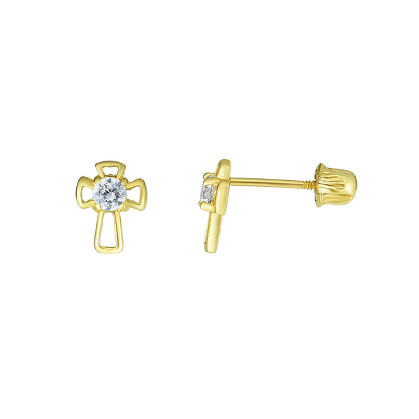 Giorgio Bergamo Earrings 14kt Gold Crystal Open Cross Childrens Stud Earring MJER10688