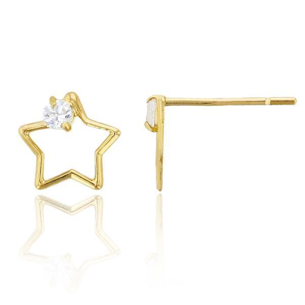 Giorgio Bergamo Earrings 14kt Gold Crystal Open Star Childrens Stud Earring MJFZE5174Y2W