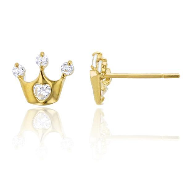 Giorgio Bergamo Earrings 14kt Gold Crystal Princess Crown Childrens Stud Earring MJFZE5175Y2W