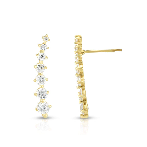 Giorgio Bergamo Earrings 14kt Gold Curved Graduated Crystal Ear Climber Earrings MJER8395