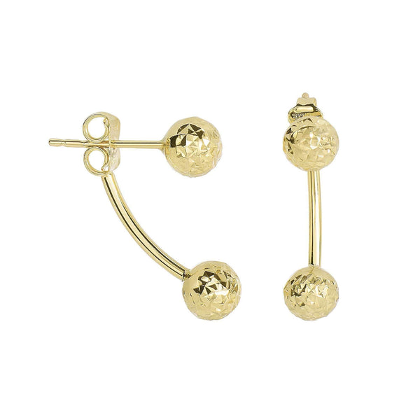 Giorgio Bergamo Earrings 14kt Gold Diamond Cut Double Ball Stud Earring MJER3933