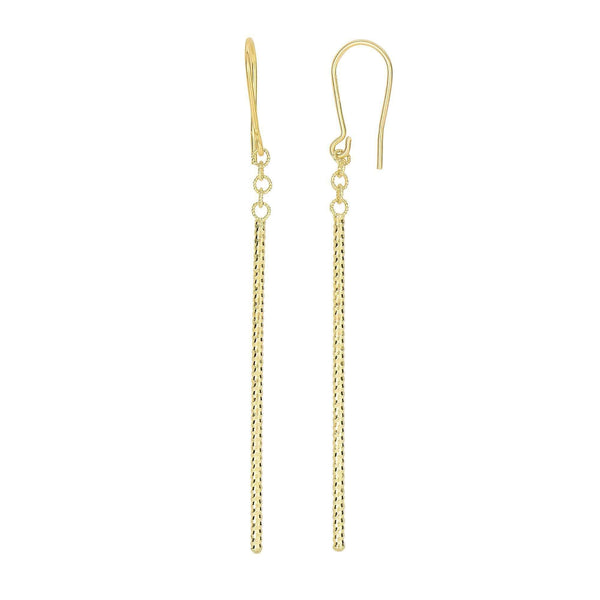 Giorgio Bergamo Earrings 14kt Gold Diamond Cut Long Bar Drop Earring