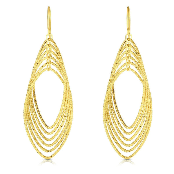 Giorgio Bergamo Earrings 14kt Gold Diamond Cut Marquise Teardrop Earring MJER7048