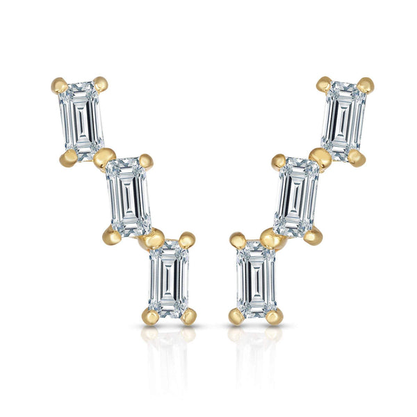 Giorgio Bergamo Earrings 14kt Gold Emerald Studded Crystal Ear Climber Earrings MJER8401