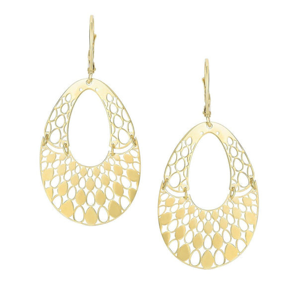 Giorgio Bergamo Earrings 14kt Gold Fancy Open Teardrop Earring MJER3623