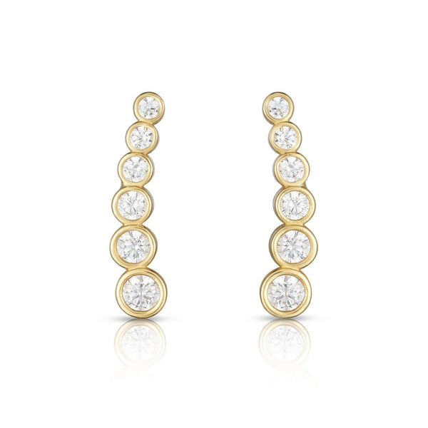 Giorgio Bergamo Earrings 14kt Gold Graduated Bezel Curved Ear Climber Earrings MJER8398