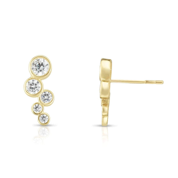 Giorgio Bergamo Earrings 14kt Gold Graduated Bezel Zig Zag Ear Climber Earrings MJER8396
