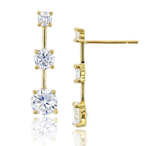 Giorgio Bergamo Earrings 14kt Gold Graduated Crystal Bar Stud Earrings MJFZE5162Y2W